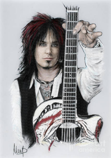 Rock Music Drawing - Nikki Sixx 4 by Melanie D