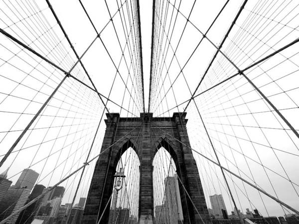 Grey Skies Wall Art - Photograph - Nyc Brooklyn Bridge by Nina Papiorek