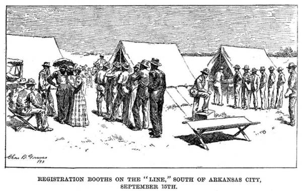 Destiny Drawing - Oklahoma Land Rush, 1893 by Granger