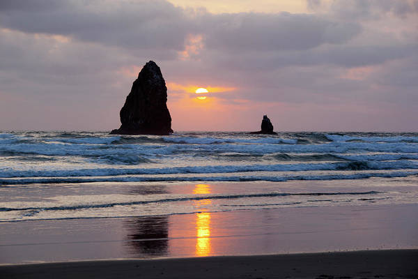 Cannon Beach Photograph - Or, Cannon Beach, Seastacks At Sunset by Jamie and Judy Wild