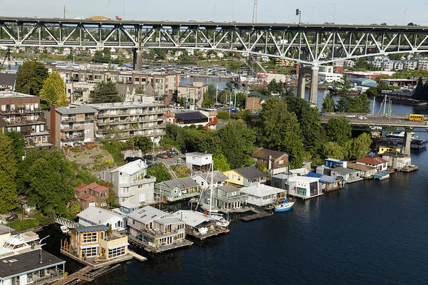 Houseboat Photograph - Portage Bay And Houseboats, Seattle by Andrew Buchanan/SLP