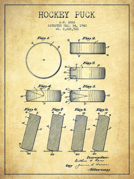 Hockey Sticks Digital Art - Roll Prevention Hockey Puck Patent Drawing From 1940 by Aged Pixel