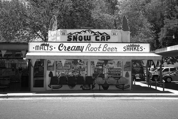 Photograph - Route 66 - Snow Cap Drive-in 2012 Bw by Frank Romeo