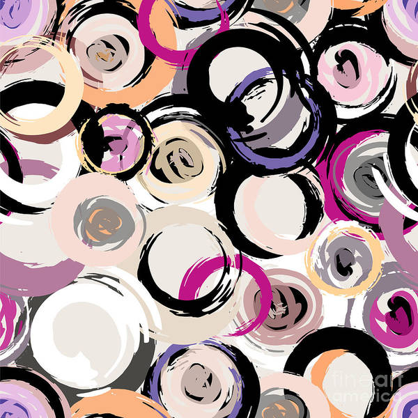 Circular Wall Art - Digital Art - Seamless Background Pattern, With by Kirsten Hinte