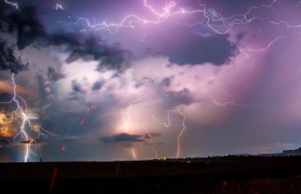 Photograph - Stacked Nebraska Lightning by NebraskaSC