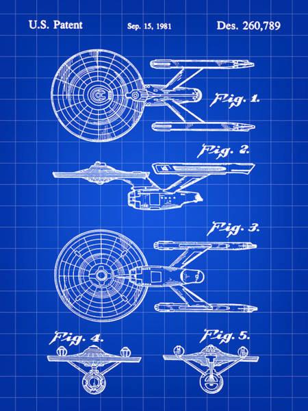Wall Art - Digital Art - Star Trek Uss Enterprise Toy Patent 1981 - Blue by Stephen Younts