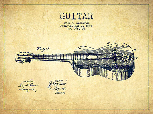 Electric Guitar Wall Art - Drawing - Stratton Guitar Patent Drawing From 1893 by Aged Pixel