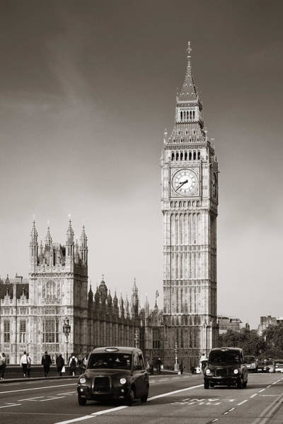 Photograph - Taxi And Big Ben by Songquan Deng
