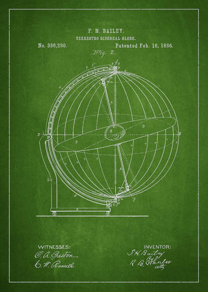 Wall Art - Digital Art - Terrestro Sidereal Globe Patent Drawing From 1886 by Aged Pixel