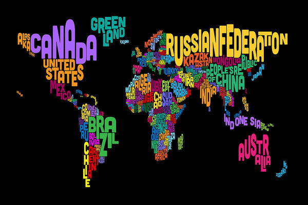 Wall Art - Digital Art - Text Map Of The World Map by Michael Tompsett