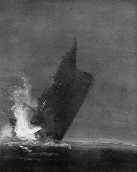 Wall Art - Drawing - Titanic Sinking, 1912 by Granger
