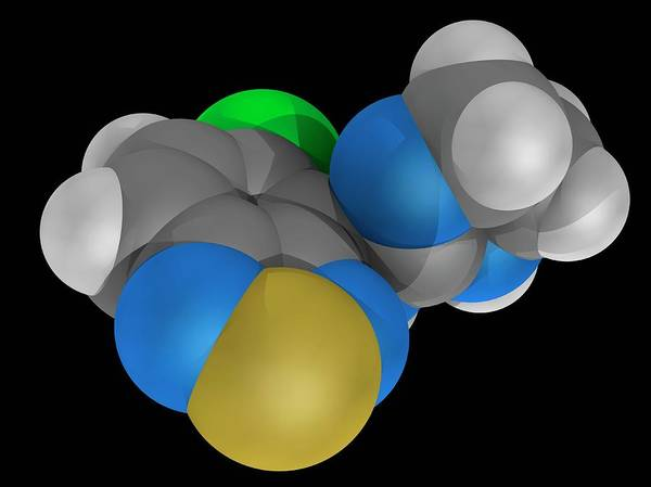 Wall Art - Photograph - Tizanidine Drug Molecule by Laguna Design/science Photo Library