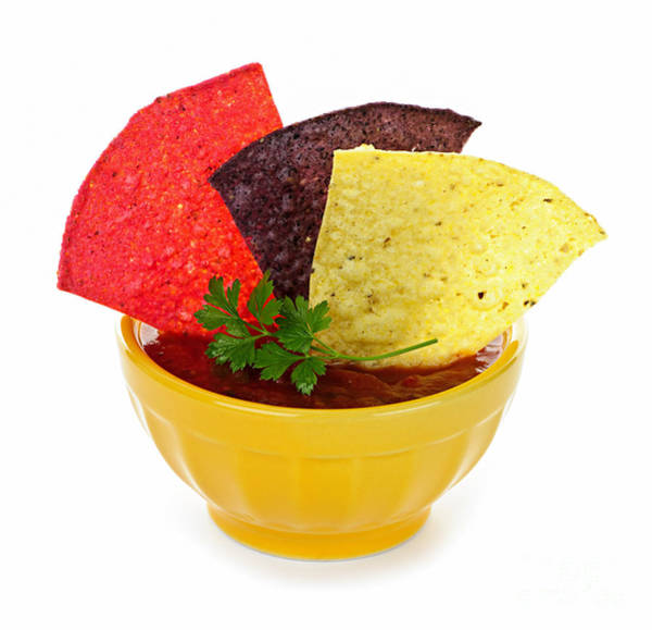 Garnish Photograph - Tortilla Chips And Salsa by Elena Elisseeva