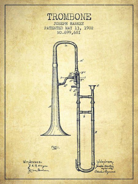 Patent Application Wall Art - Digital Art - Trombone Patent From 1902 - Vintage by Aged Pixel