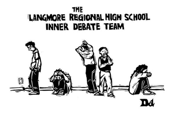 Psychology Drawing - The Langmore Regional High School Inner Debate by Drew Dernavich