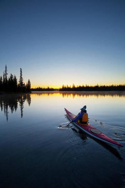 Kayaks Wall Art - Photograph - Usa, Oregon A Woman In A Sea Kayak by Gary Luhm