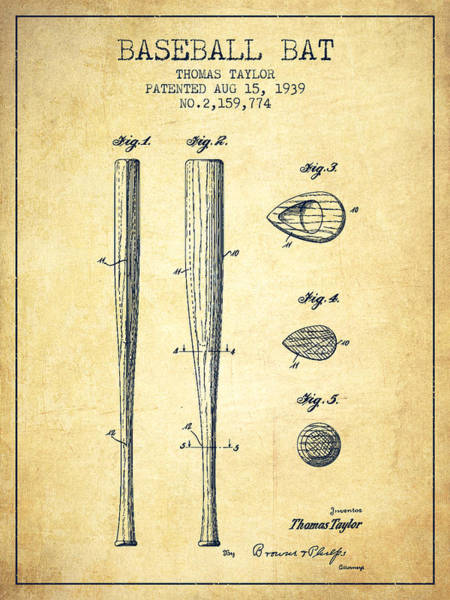 Baseball Bat Patent Wall Art - Drawing - Vintage Baseball Bat Patent From 1939 by Aged Pixel