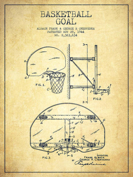 Exclusive Rights Wall Art - Drawing - Vintage Basketball Goal Patent From 1944 by Aged Pixel