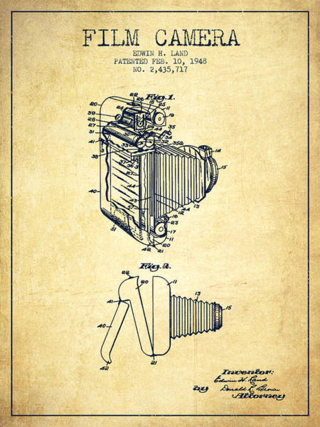 Lens Digital Art - Vintage Film Camera Patent From 1948 by Aged Pixel