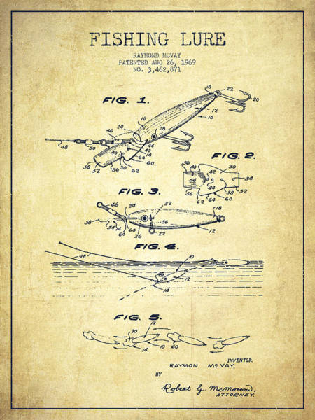 Intellectual Property Wall Art - Drawing - Vintage Fishing Lure Patent Drawing From 1969 by Aged Pixel