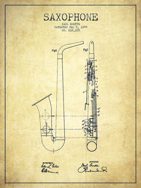 Wall Art - Digital Art - Saxophone Patent Drawing From 1899 - Vintage by Aged Pixel