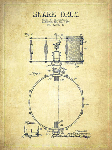 Intellectual Property Wall Art - Digital Art - Snare Drum Patent Drawing From 1939 - Vintage by Aged Pixel