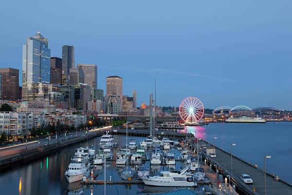 Elliott Bay Photograph - Wa, Seattle, The Seattle Great Wheel by Jamie and Judy Wild