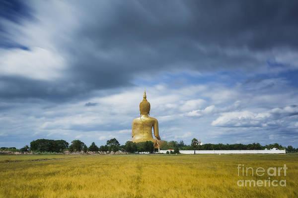 Chang Mai Wall Art - Photograph - Wat Muang With Gilden Giant Big Buddha Statue by Anek Suwannaphoom