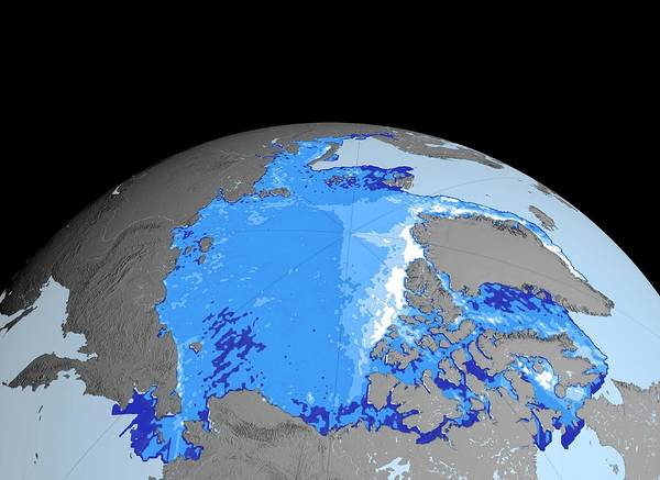 Wall Art - Photograph - Winter Arctic Sea Ice Thickness by Nasa/gsfc-svs/science Photo Library