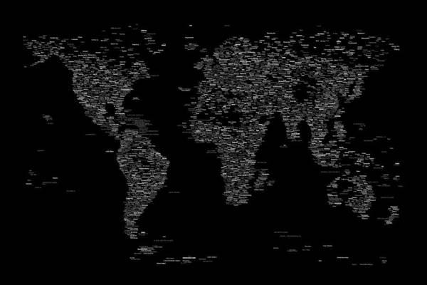 Text Map Digital Art - World Map Of Cities by Michael Tompsett