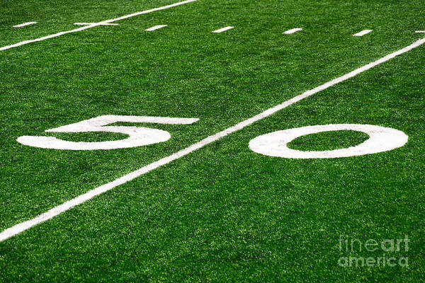Yard Photograph - 50 Yard Line On Football Field by Paul Velgos