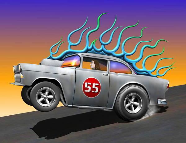 Wall Art - Digital Art - '55 Chevy by Stuart Swartz