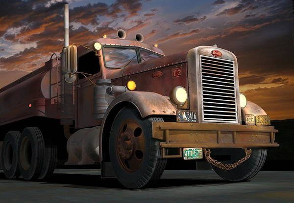Wall Art - Digital Art - '55 Peterbilt Sunset by Stuart Swartz