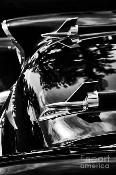 Chevrolet Bel Air Photograph - 57 Chevrolet Hood Rockets Monochrome by Tim Gainey