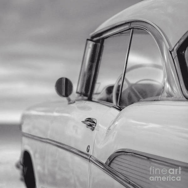 Square Aspect Wall Art - Photograph - 57 Chevy Belair At The Beach by Edward Fielding