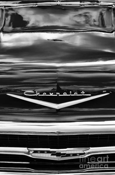 Chevrolet Bel Air Photograph - 57 Hood Monochrome  by Tim Gainey