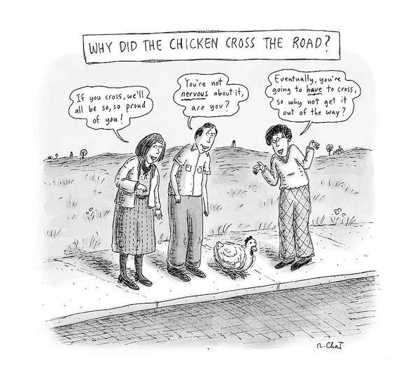 Bystander Drawing - New Yorker September 15th, 2008 by Roz Chast