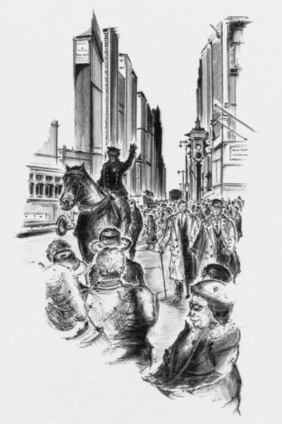 Drawing - New York City - 5th Avenue Traffic by Peter Potter