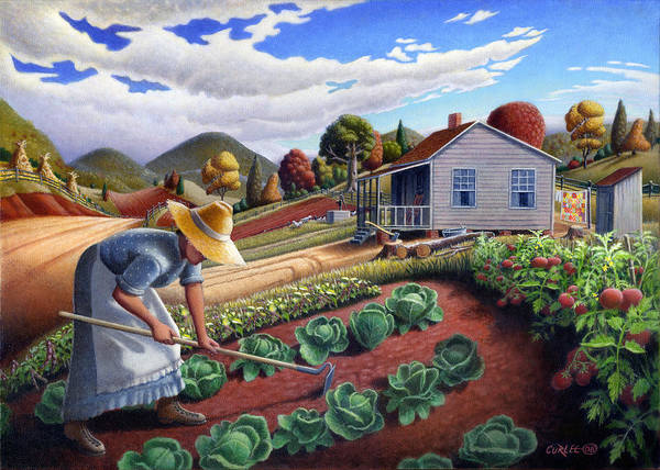South Alabama Painting - 5x7 Greeting Card Mother In Garden Rural Country Appalachian Landscape by Walt Curlee