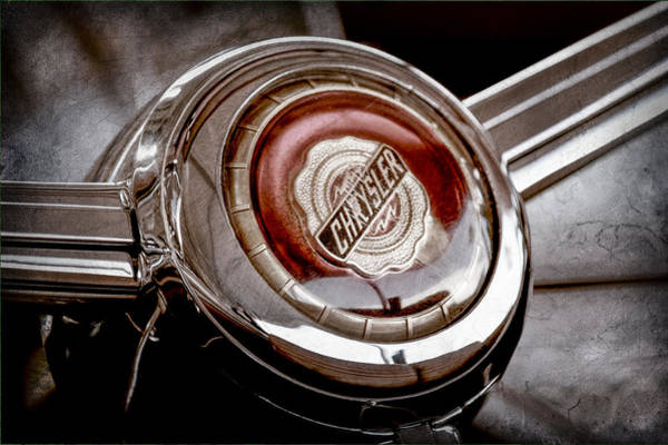 Chrysler Photograph - 1949 Chrysler Town And Country Convertible Steering Wheel Emblem by Jill Reger