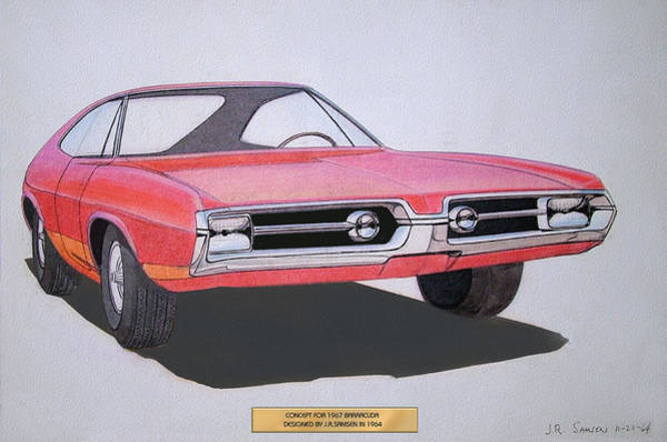 Wall Art - Drawing - 1967 Barracuda   Plymouth Vintage Styling Design Concept Rendering Sketch by John Samsen