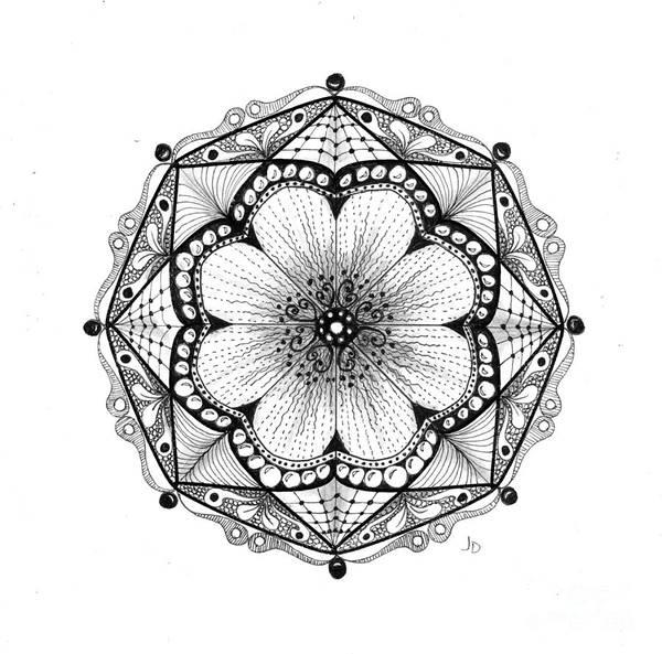 Organic Form Drawing - 6 - 8 Pt Symmetry by Jeaanne Donovan
