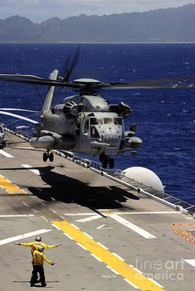 Amphibious Assault Ship Wall Art - Photograph - A Ch-53e Super Stallion Helicopter by Stocktrek Images
