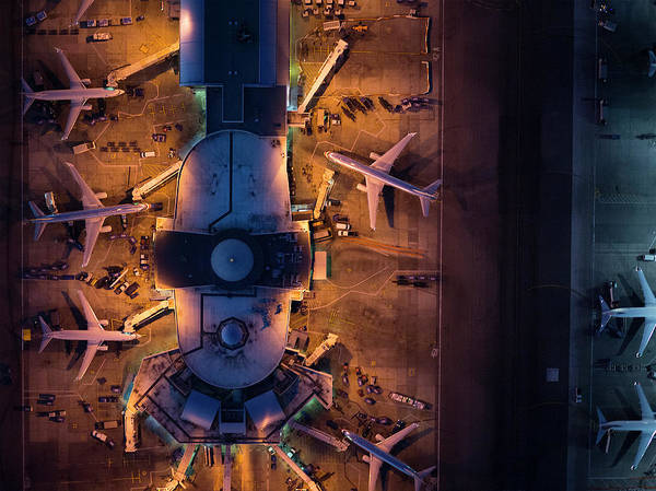 Airliners At  Gates And Control Tower Art Print by Michael H
