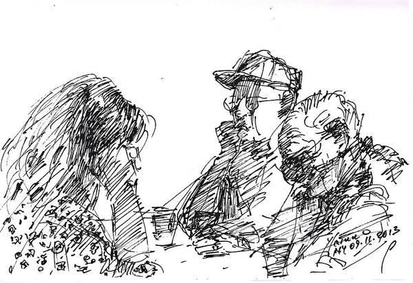 Sketch Wall Art - Drawing - At Tim Hortons by Ylli Haruni