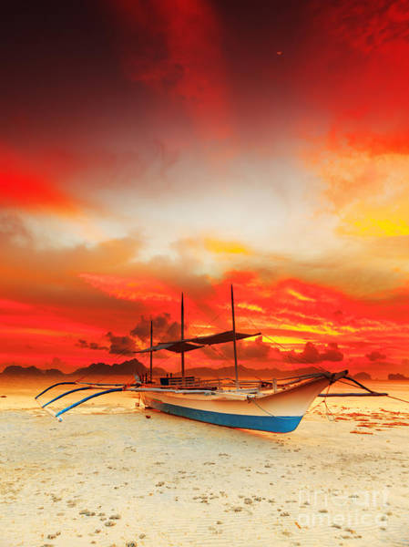 Outrigger Canoe Photograph - Boat At Sunset by MotHaiBaPhoto Prints