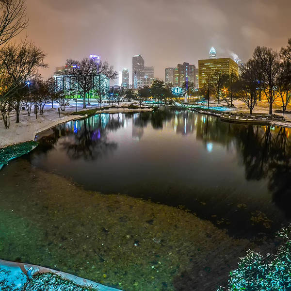 Charlotte Nc Skyline Covered In Snow In January 2014 Art Print