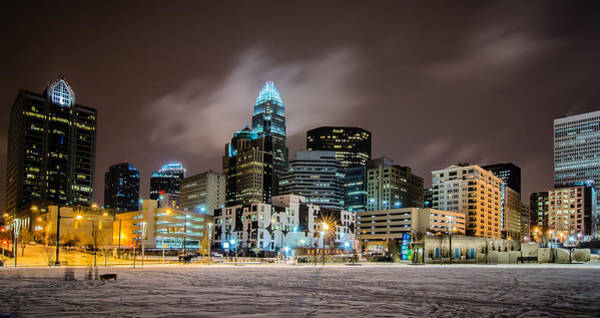Photograph - Charlotte Queen City Skyline Near Romare Bearden Park In Winter Snow by Alex Grichenko