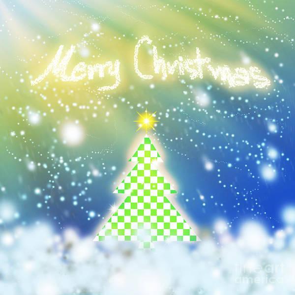 Checker Digital Art - Chess Style Christmas Tree by Atiketta Sangasaeng