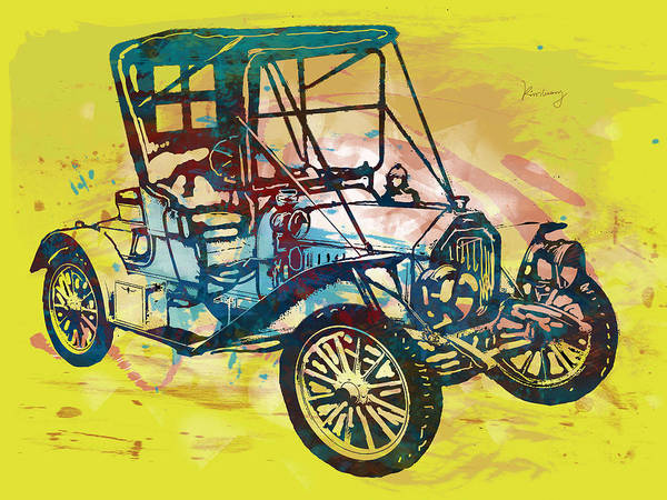 Culture Drawing - Classical Car Stylized Pop Art Poster by Kim Wang